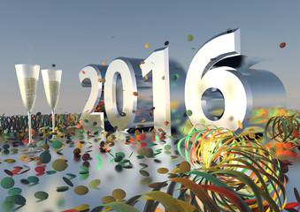 Silvesterparty 2016 mit Sekt, Konfetti und Luftschlangen