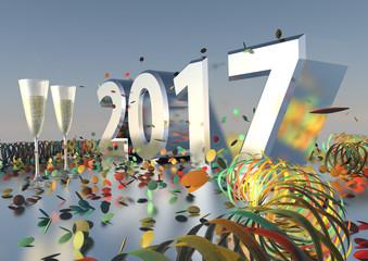 Silvesterparty 2017 mit Sekt, Konfetti und Luftschlangen