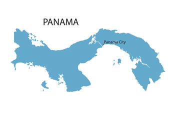 blue map of Panama with indication of Panama City
