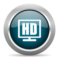 hd display blue silver chrome border icon on white background