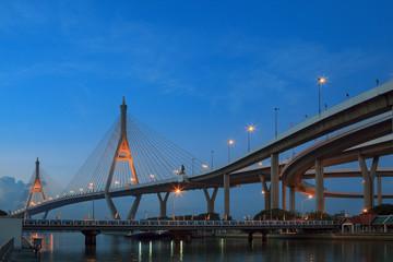 morning blue light sky and bhumibol II bridge crossing chaopraya