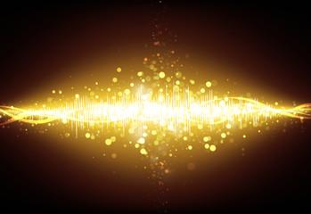 Gold Equalizer wave glitter sparkle defocused rays lights bokeh