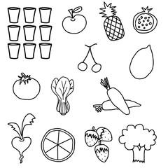 Black white vegetable fruit drawing illustration