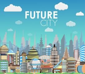 Future city landscape cartoon vector illustration. Modern building set.