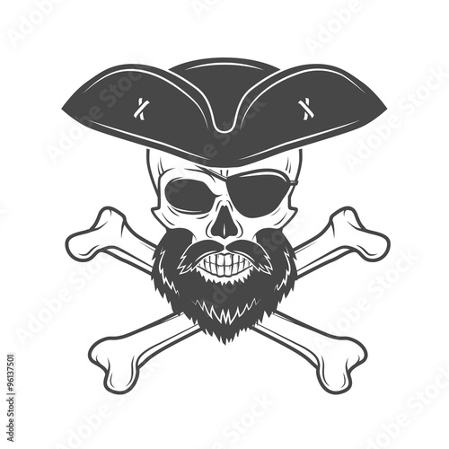 pirate skull in cocked hat with beard eye patch and crossed bones
