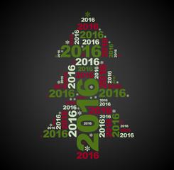 symbol of New Year Christmas tree multicolor on black