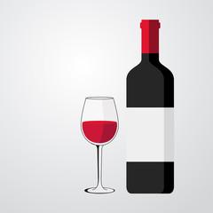 Icono plano botella de vino con copa #1
