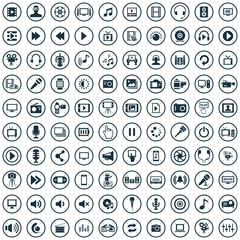 multimedia, video 100 icons universal set