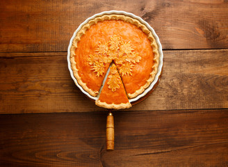 Traditional american homemade pumpkin pie