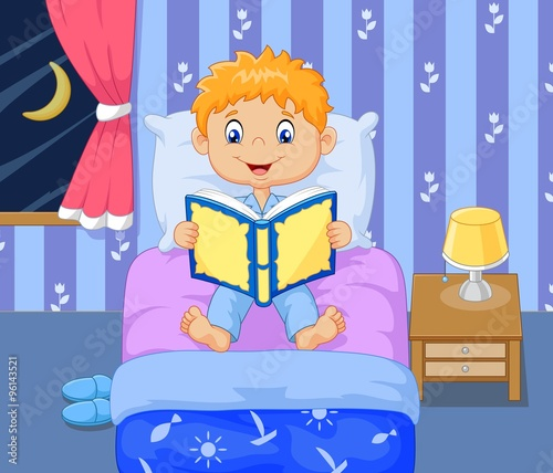 Cartoon lttle boy reading bed time story stock image and for Chambre de dormir