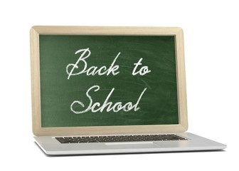 Laptop with chalkboard, back to school, online education concept