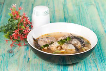 Thai food name is Fish Tomyam ,Sneck head fish on