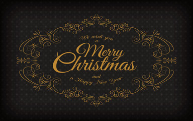 Merry Christmas and a happy new year greeting vintage frame