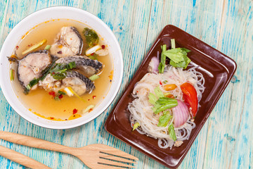 vermicelli spicy salad,and Tom yam fish ,Thai Food