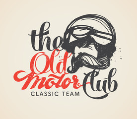 The Old motor club logo and symbol. Designed using the hand-draw