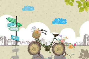 Illustration: Your Bicycle is Waiting For You! He Waits So Long That New Roots and Flowers Grow! Don't Let Him Wait Again. Go For a Ride Freely! Realistic Fantastic Cartoon Style Creative Idea Design.