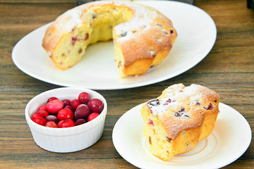 Delicious Cake with Raisins and Cranberries