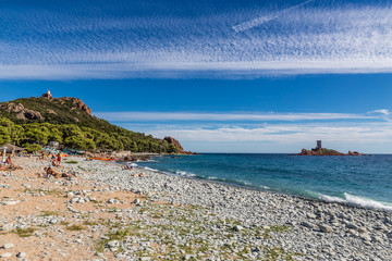 Dramont beach and Île dOr Island-St.Raphael,France