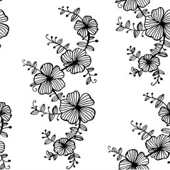 seamless background  pattern of hand-painted flower garlands graphic black and white vector illustration