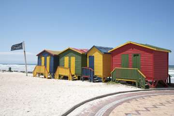 Colourful beach huts at Muizenberg seaside resort near Cape Town South Africa