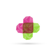 Cross plus heart medical logo. low poly design  in triangles