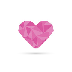 Pink origami heart. low poly design  in triangles