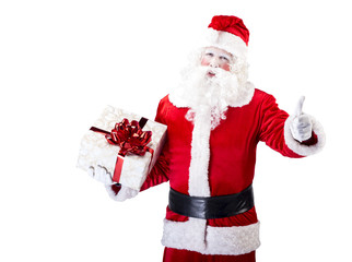 Santa Claus with gift posing on white isolated background