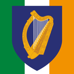 ireland coat of arm and flag