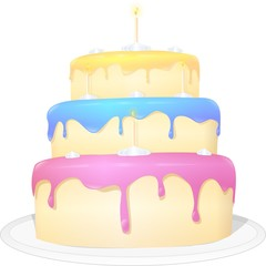 Decorated cake with four candles and multi-colored icing.