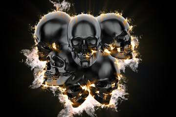 Skulls in flame. 3d illustration