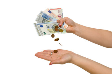 Female hand with different euro isolated on white