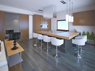 Light L-shaped kitchen design