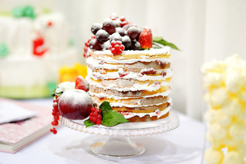 Wedding cake decorated with fruits