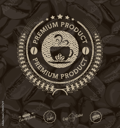 vector coffee labels isolated coffee beans seamless background