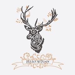 Autumn card with deer. Vector illustration