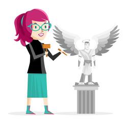 mujer artista esculpiendo estatua de angel