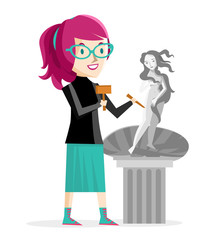 mujer artista esculpiendo estatua de Venus