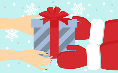illustration of a hand with a gift. Santa gives a gift to girl