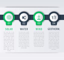 Alternative energy solutions, solar, wind energetics, infographic elements, timeline, vector illustration
