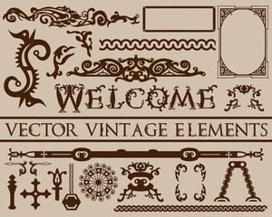 Detailed brown vintage elements in gothic Halloween style on beige background: font, frames, swirls, ornaments, parts etc. Can be used for cards. posters, backgrounds, menu design. Vector illustration