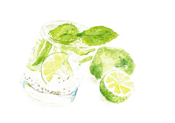 Watercolor Mojito fresh art