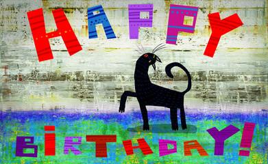 Birthday Card Black Singing Cat