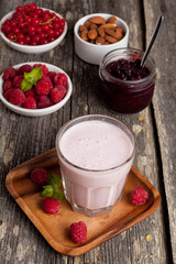 healthy berry smoothies with oatmeal, vertical