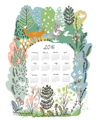 Calendar 2016 with nature theme - trees and animals