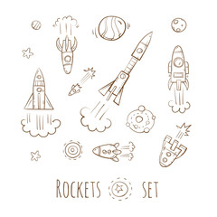 Cartoon rockets set. Stars and planets. Vector image.