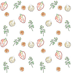 Watercolor sketch carrot onion paprika parsley seamless pattern