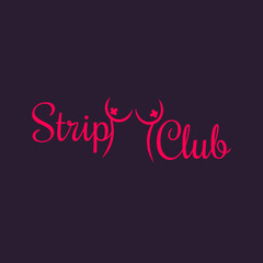 Strip Club sign, logotype template