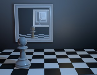 Chess pawn watching in mirror.