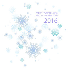 cute Merry Christmas and happy new year card 2016