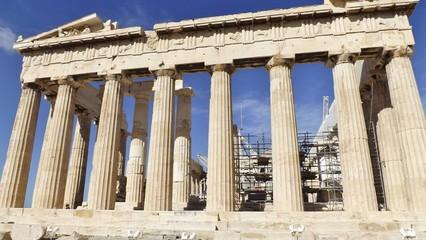The Parthenon at the Acropolis, Athens, Greece. Detail. Reconstruction works on the Parthenon.